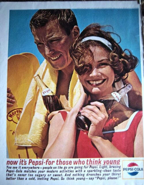 1963 Pepsi Cola Think Young Swimming Summer Glass Bottle Soda Pop Ad