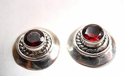 Natural Faceted Garnet 925 Sterling Silver Stud Earrings New