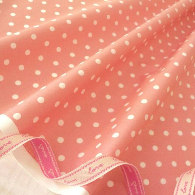 DUSTY PINK - MOD POLKA DOT 100% COTTON FABRIC per m PATCHWORK QUILTING