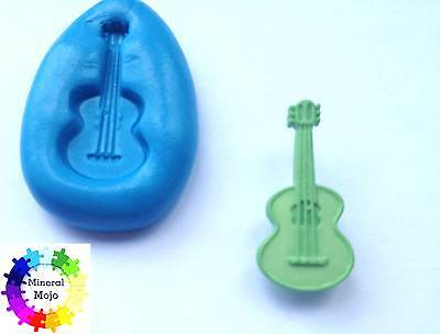 Guitar 2 Silicone Mould Cupcake Card Toppers, Sugarcraft, PMC, Fimo, Jewellery