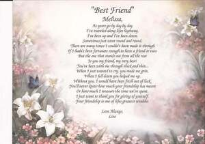best friend poems for her quot best friend quot personalized poem gift for any 20519 | s l300