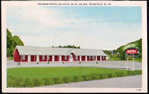 Image Is Loading Bluefield Wv Rainbow Motel Vintage Postcard Old West