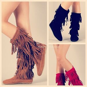 Fringe-Boots-Indian-Cherokee-3-Tier-Layer-Faux-Suede-Brown-Black-Flat-Moccasin