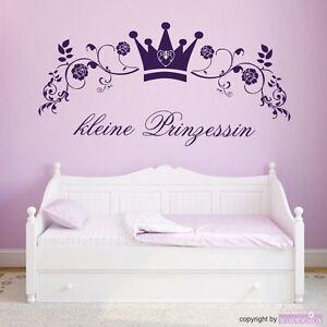 wandtattoo kleine prinzessin krone blumen ranke. Black Bedroom Furniture Sets. Home Design Ideas