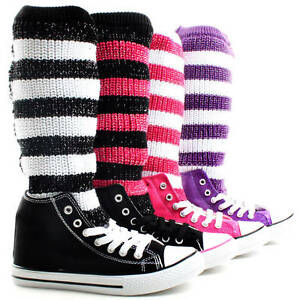 Womens-Sneakers-Sweater-Knit-Crochet-Knitted-Skate-Shoes-Lace-Up-Knee-High-Boots