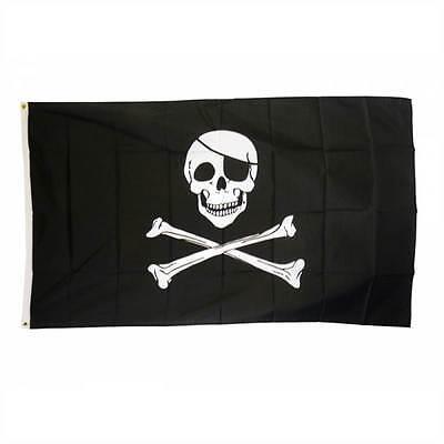 SKULL & CROSSBONE PIRATE JOLLY ROGER LARGE FLAG 5X3FT 5'X3' EYELETS FOR HANGING
