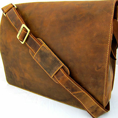 "Messenger 14"" Laptop Bag Real Leather Tan Distressed Quality Item Visconti BNWT"