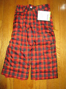 New Burton Boys Size XS (3-4) Red & Black Plaid Smuggler Snowboard Ski Pants