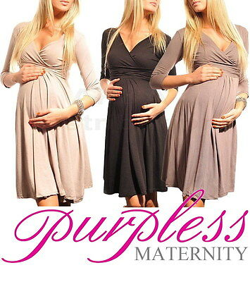 New MATERNITY DRESS V-Neck Pregnancy Clothing Wear Size 8 10 12 14 16 18  4400