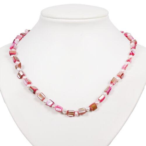 rosa Muscheln Perlen Halskette Süßwasserpelen rot Muscheln Perlenkette