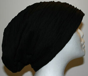 WOMEN-BLACK-DOUBLE-LAYERED-SLOUCHY-BAGGY-FASHION-BEANIE-HAT-CAP-F5
