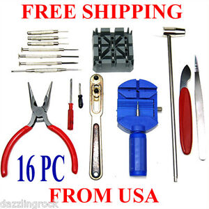 16-pc-piece-pcs-Watch-Repair-Pin-amp-Back-Link-Remover-Adjusting-Tool-Kit-Set