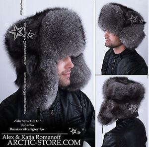 Siberian-Full-Fur-USHANKA-hat-Silver-Grey-White-Black-Brown-Ranched-Fox-ARKTIKA