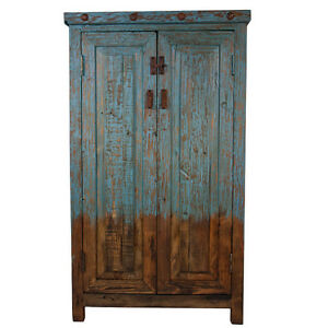 Turquoise Cabinet, Reclaimed Look, Free Shipping