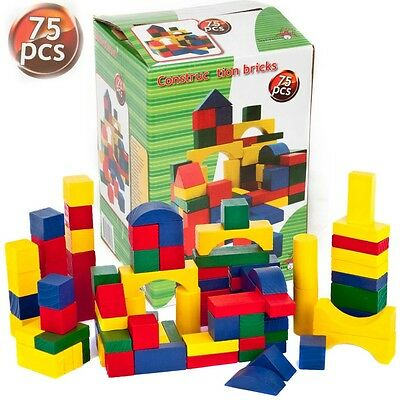 150 Piece Children's Building Blocks Bricks Toys Wooden Construction Xmas Gift