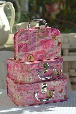 Pappkoffer Kinderkoffer * Patchwork Rosa * Pappe Köfferchen Koffer