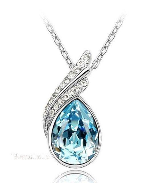 Hot Selling Beautiful Fashion Sea Blue Swarovski Crystal Pendant Necklace 4213-2