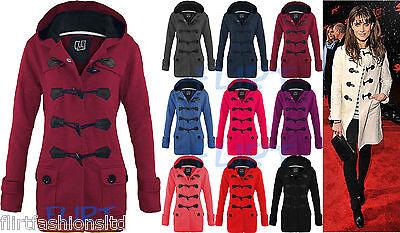 Womens Fleece Jacket CHERYL Hooded Duffle Trench Coat Hood Jackets Toggle TOGGA