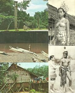 HUGE lot 9 Borneo Sarawak postcards + 1 photo Malaysia 20-70s