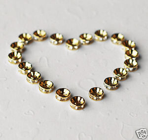 20-pcs-Rhinestone-Crystal-Roundelle-Gold-Plated-Spacer-8mm-Bead-Caps-AC032