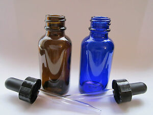 AMBER-COBALT-BLUE-GLASS-BOTTLE-1-OR-2-OZ-WITH-DROPPER-YOU-CHOOSE