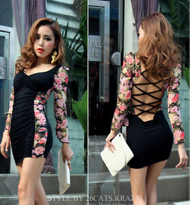 Women-Backless-Sexy-Stretchy-High-Length-Clubwear-Floral-Print-Dress-S-M-N225