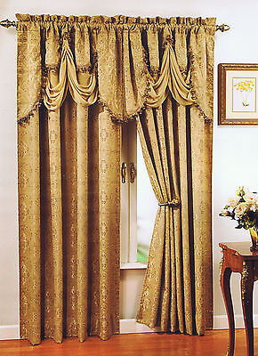 PORTOFINO Jacquard Panel Or Fringed Valance Rod Pocket Regal Home Collection NIP