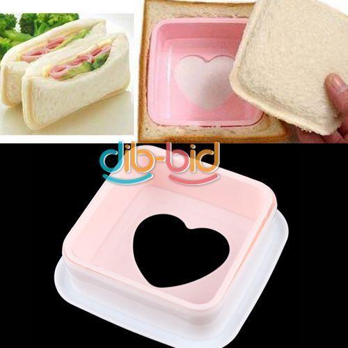 Heart Hearted Shape Sandwich Bread Toast Maker Mold Mould Cutter DIY Tool DB