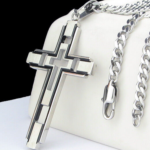 """COOL CROSS Pendant Stainless Steel Necklace 22"""" CURB CHAIN -"""