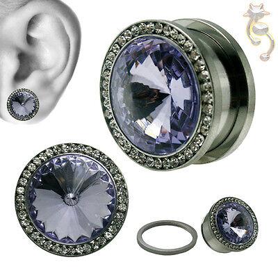 CZ Plugs Clear Black Red Aqua Green Amethyst Pink Screw Body Jewelry Tunnel Ear