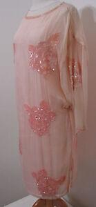 ... Peach Sequin Bead Lg Floral Trim Batwing Tunic Flapper Dress L | eBay
