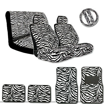 Premium Qualit White Zebra Print Car Seat Covers Bench Cover and Floor Mats Set
