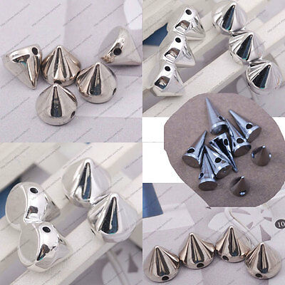 40x spikes rivet pyramid loose bead fit stretch bracelet DIY findings spacer