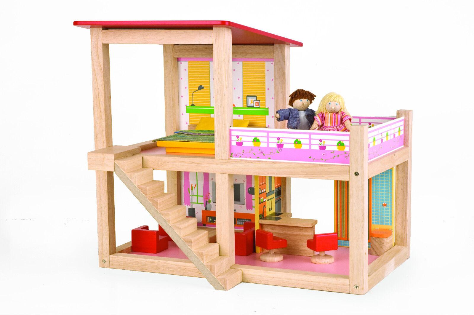 Pintoy Sommerhaus Puppenhaus Villa komplett eingerichtet mit Terasse offen offen offen NEU    Deutschland Outlet  61cdd4