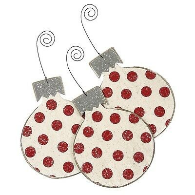 Red White Polka Dots Christmas Bulbs Ornaments (set of 3) Primitive And Vintage