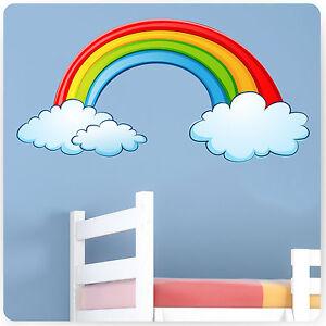 childrens kids bedroom rainbow wall stickers girls baby rainbow decal reuseable wall sticker felt
