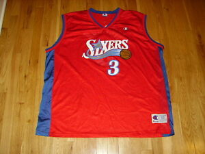 new concept 67636 998c5 Details about Vintage Champion ALLEN IVERSON Red SIXERS 76ERS Mens NBA Team  Replica JERSEY 52