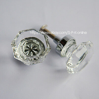 Octagonal Knob Clear Cabinet Drawer Crystal Glass Handle 30mm  New