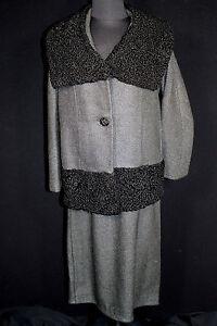 Besonderer Vintage 594ms Designer Robal Original Anzug Schwarz Lammwolle Sz 8-10
