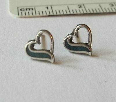 Sterling Silver TINY 8x8mm Heart with Blue Studs Posts Earrings!