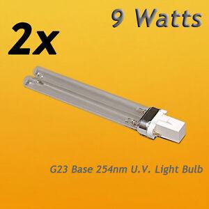 2pcs 9W 9 WATT UV UVC PL-S9/TUV G23 Base Light Bulb