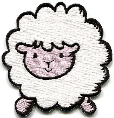 Sheep lamb ewe fun retro embroidered applique iron-on patch S-206