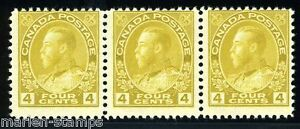 CANADA GEORGE V SCOTT#110 STRIP MINT NEVER HINGED