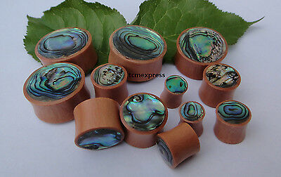 1 Pair Handcrafted ABALONE SHELL INLAY Sawo Wood Double Flared Ear Plugs Gauges