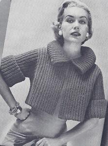 Knitting Pattern Boxy Jacket : Vintage Knitting PATTERN to make Bulky Box Shorty Jacket Car Coat Sweater Bul...