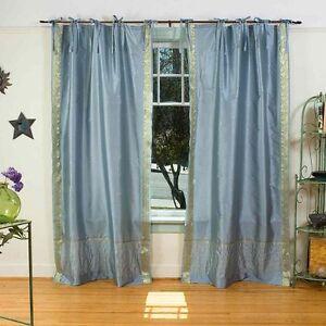 Indo-Gray-Tie-Top-Sari-Sheer-Curtain-Drape-Panel-84-034