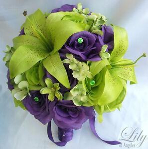 17pcs-Wedding-Bridal-Bride-Bouquet-Flowers-Decoration-Package-GREEN-PURPLE-LILY