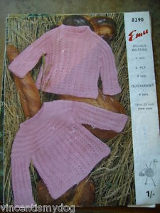 Emu * Dk 4 Plis Quickerknit * Baby's Tops Knitting Pattern * 8290-afficher Le Titre D'origine