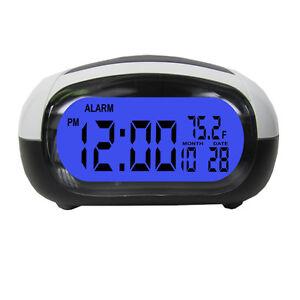 Talking-Alarm-Clock-LCD-Date-Temp-Travel-Digital-Backlight-Tells-Time-Temp-Black