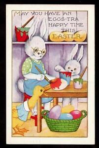 1940-rabbit-family-painting-eggs-easter-postcard